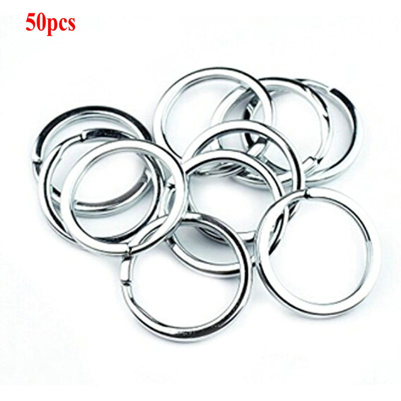 Nickel Plate 50pcs Steel Keyring Split Key Rings 16mm Double Loop