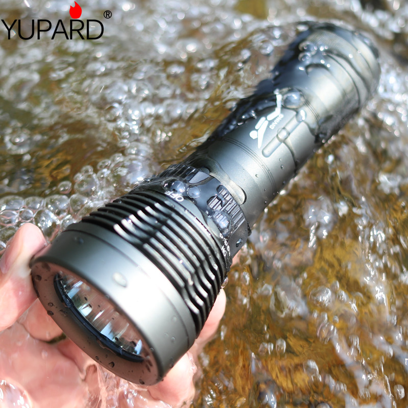 YUPARD dalış diver Sualtı CREE XM-L2 T6 LED El Feneri Torch Su Geçirmez Işık Lambası açık spor balıkçılık kamp avcılık
