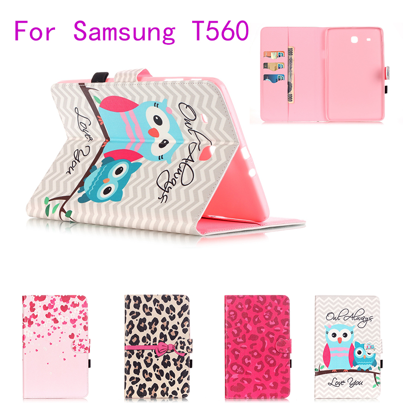 Colorful Painted Flip Leather Case For Samsung Galaxy Tab E 9.6 T560 T561 Tablet Cover Cases Magnetic wallet Shell Protective luxury flip stand case for samsung galaxy tab 3 10 1 p5200 p5210 p5220 tablet 10 1 inch pu leather protective cover for tab3