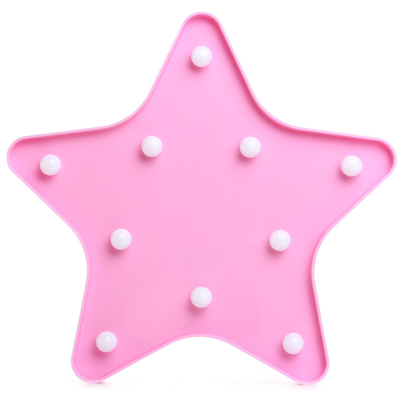 Cute Star LED Night Light Wall mounting Lamp Battery Powered Baby Kids Bedroom Home Decor