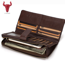 LY.SHARK Genuine Leather Men Wallet Male Clutch bag Coin Purse Phone Card Holder Organizer Money Bag long top men wallet 2017