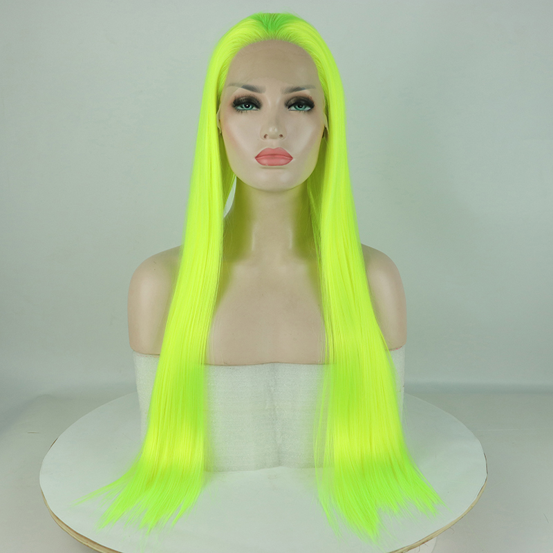 Fantasy Beauty Yellow Green Wig Long Straight Synthetic Lace Front Wigs Top Fashion Fluorescence Lace Wig