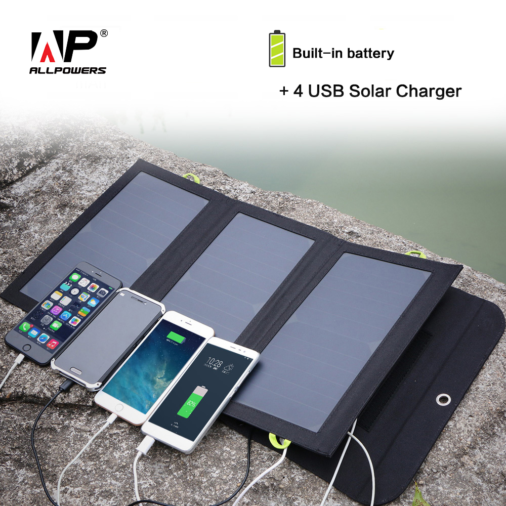 ALLPOWERS Solar Power Bank 5V 21W Solar External Battery Charger 4 USB Output Ports for iPhone