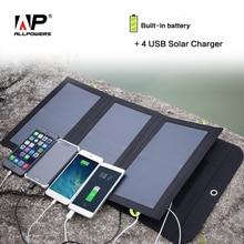 Allpowers солнечной энергии Мощность Bank 5 В 21 Вт солнечная внешний Батарея Зарядное устройство 4 USB Выход порты для IPhone IPad Samsung HTC Sony Хуа w ei