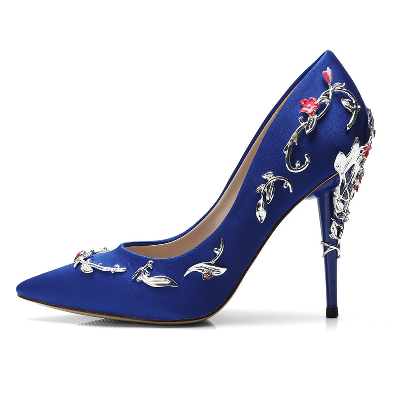 2018 Newest Sexy Pointed Toe Blue High Heels Elegantt Metal Flower Decorations Dress Shoe for Woman Satin Thin Heels Pumps диск trebl x40010 6 5xr16 5x112 мм et39 5 silver