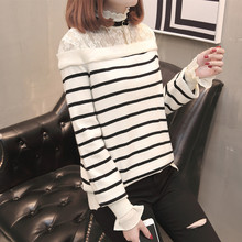 women knitted sweater coat striped coloured lace turtleneck pullovers butterfly sleeve regular Jersey female spring autumn new