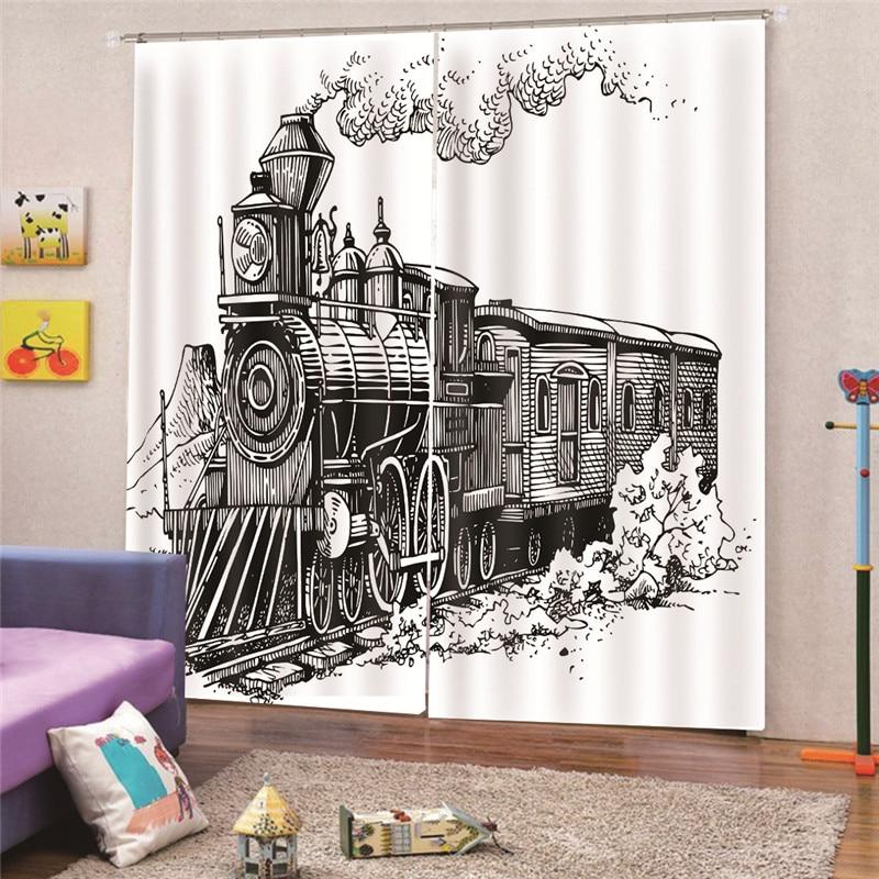 3D цифровой печати скошенный окна поезда шторы вилла на крыше окна мансарде затемнение комнаты украшения интерьера, шторы Draps AP24