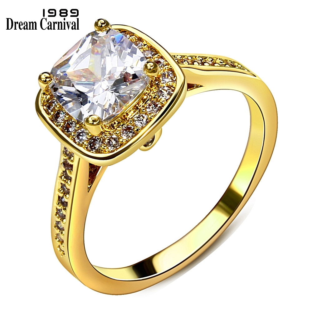 DreamCarnival1989 Kobiety Wedding Party Biżuteria Rod Złoty Kolor Big Square Cyrkon Solitaire Rings YR7233 Prezent Anillos Mujer