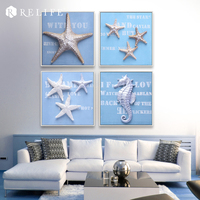 Ручной работы стены комнаты картинки Триптих Домашний Декор Картины для Спальня гиппокамп и морская звезда