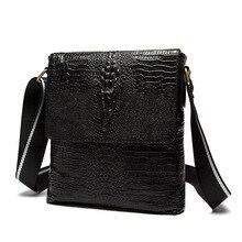 Classy Crocodile Printing Male Top Layer Cowhide Bag Fashion Embossing Luxury Black Shoulder Bag For Men Vertical Type Work Bag цена