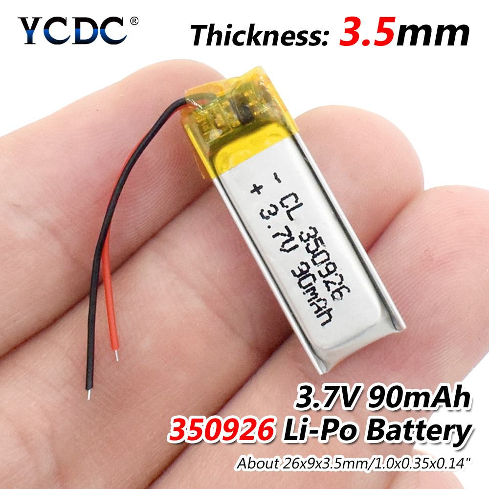 3.7V 90mAh 350926 Lithium Polymer Li-Po Li Ion Rechargeable Battery Lipo Cells For MP3 MP4 GPS Bluetooth Earphone Speaker