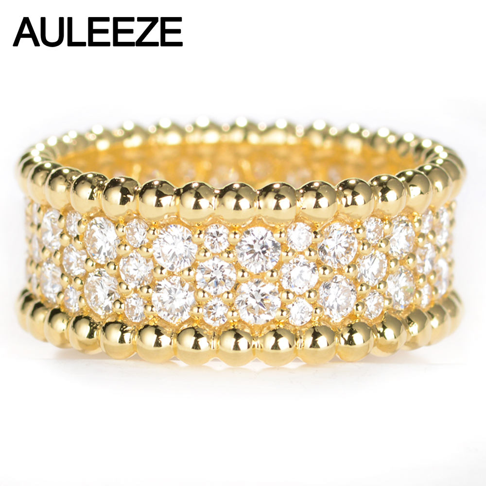 AULEEZE Ultra Luxury Moissanite 18k 750 Yellow Gold Engagement Rings For Women Lab Grown Diamond Wedding Band Fine Jewelry genuine 18k 750 rose gold 1ct hearts arrows test positive lab grown moissanite diamond engagement pendant necklace chain women