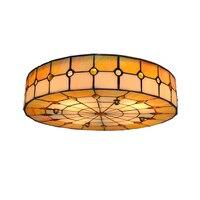 Тиффани классический стиль белый и оранжевый витраж для натяжного потолка лампа Средиземноморский 3 огни Flsh Mount Light Lighting C263