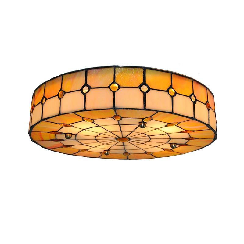 Tiffany Classic Style White & Orange Stained Glass Suspension Ceiling Lamp Mediterranean 3 Lights Flsh Mount Light Lighting C263
