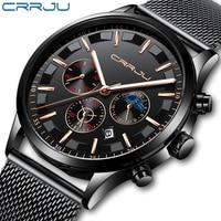 CRRJU Men Stainless Steel Mesh Quartz Watch Waterproof Watch Multi function Chronograph Date Display Wristwatch Black Relogio