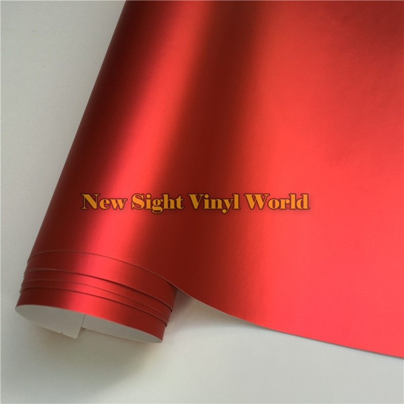 High Quality Satin Metallic Matte Chrome Red Vinyl Wrap Film Roll Bubble Free For Car Styling Size:1.52*20M/Roll