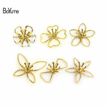 BoYuTe 50Pcs Metal Brass Stamping Filigree Flower Accessories Parts for Bridal Hair Jewelry Making(China)