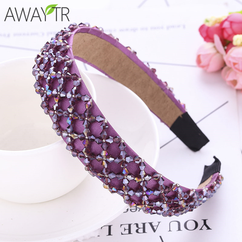 Ladies Hair Hoop Wide-Edge Crystal Beaded Wide Hair Hoop Wide   Headwear   Hair Metal Handmade Headband Hair Jewelry Ornament