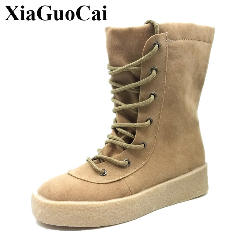 New Casual Shoes Women Boots Autumn Winter Warm Snow Boots Mid-calf Women Solid Lace-up Platform Flats Shoes H383 35 double buckle cross straps mid calf boots