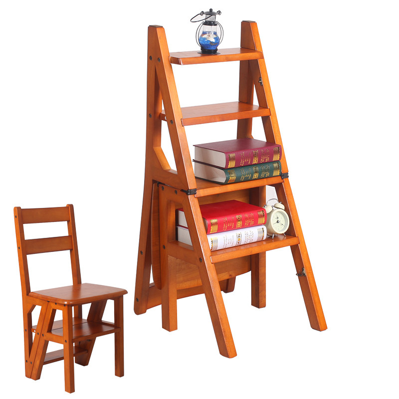 Convertible Multi Functional Four Step Library Ladder Chair In 3 Color Furniture Folding Wood For Home Stools Ottomans From