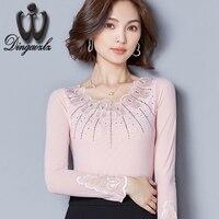 Dingaozlz nuevos diamantes de malla de costura de encaje camisa Delgada de moda mujeres tops elegante mujer de manga larga bordado camisa casual