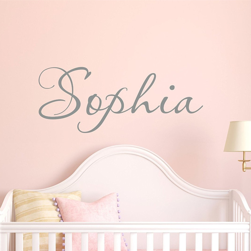 C055 girls name decal name wall decal childrens wall for Girls murals