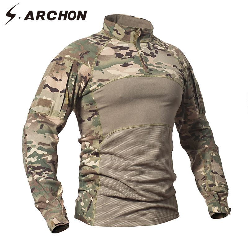 S.Archon Military Uniform Tactical Long Sleeve T Shirt Men Camouflage Army Comba