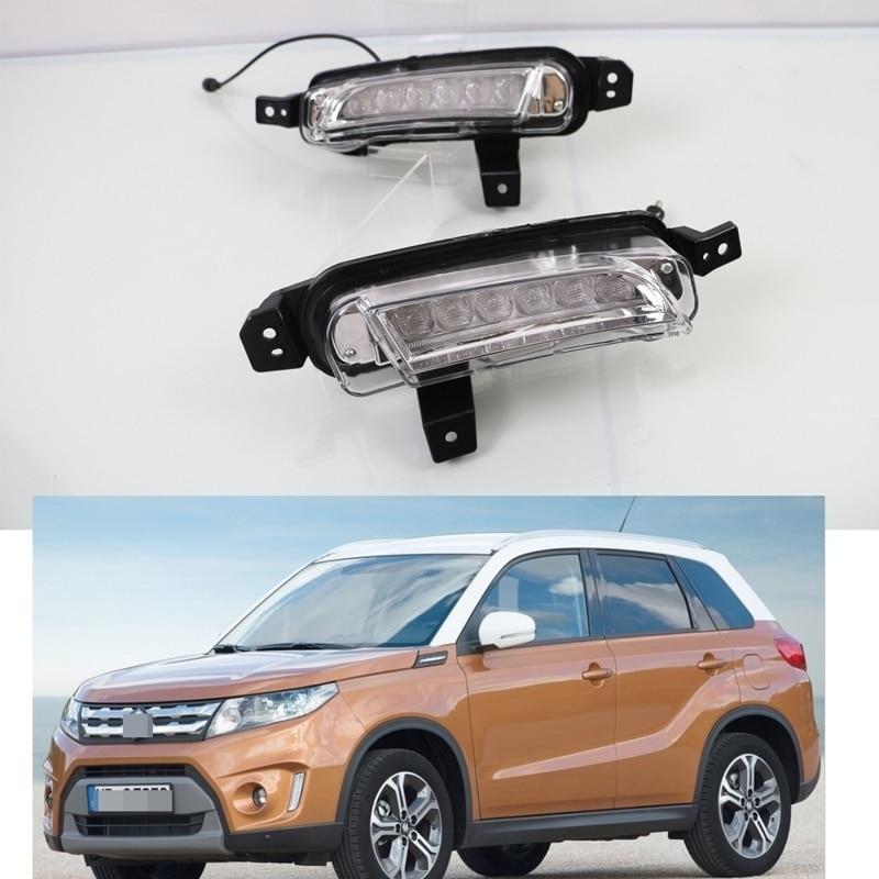 1 комплект Белый LED DRL дневного света вождения Противотуманные фары для Сузуки Витара 2015-2016