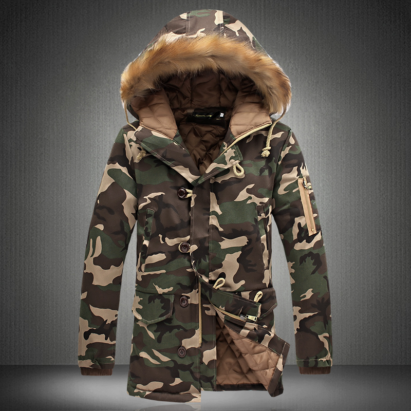 fbfe6ec46b5fa 2018 Winter men Camouflage Printed Hooded Long Jackets Padded Parka Men  Korean Warm Thick Jacket Coat male Casual Outwear S 5XL-in Parkas from Men's  ...