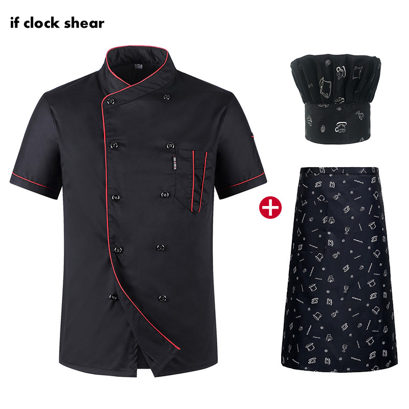 Short Sleeve Chef Uniform Restaurant Hotel Kitchen Workwear Men And Women Uniforms Breathable Thin Jacket + Hat + Apron Summer