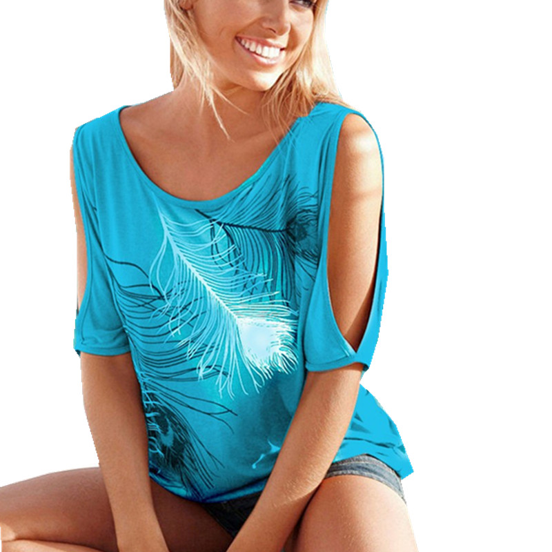 Womens Feather Print T-Shirt Short Sleeve Summer Casual Sexy TShirt Off Shoulder Female TShirts Tops Femme Plus Size S-5XL Tees