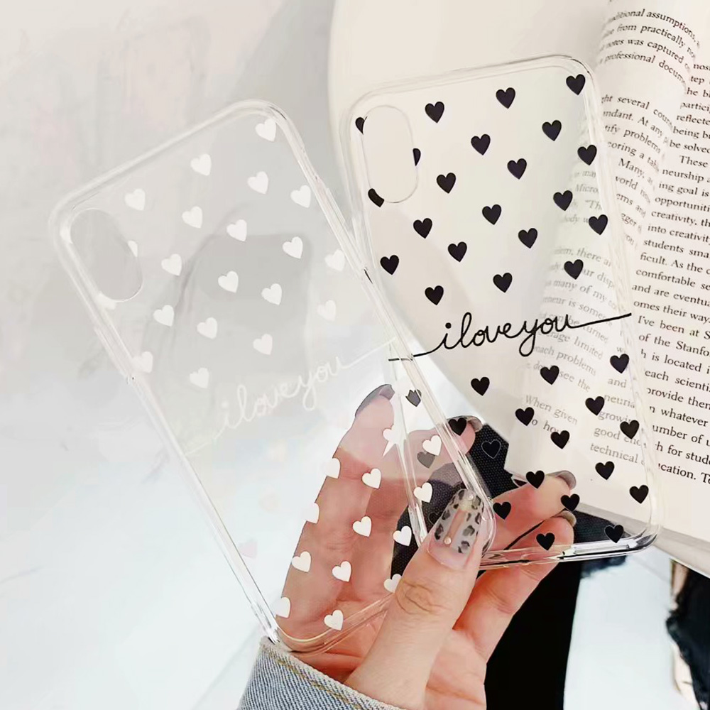 KIPX1078_3_JONSNOW Clear Case For iPhone 6 6S 7 8 Plus XS XR XS Max Black White Heart Pattern Soft Silicone Protect Back Cover Capa Fundas