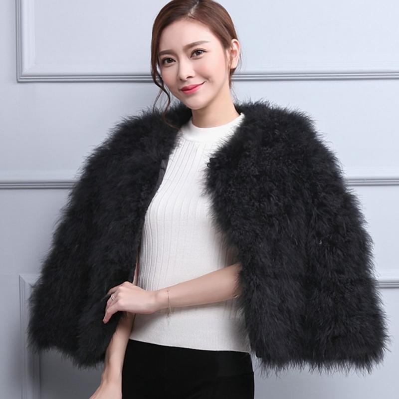 1cdd2aee470 Luxury Warm Ladies Coat Ostrich Hair Fur Coat Short Turkey Feather Jacket  Winter Long Sleeve Overcoat-in Faux Fur from Women's Clothing on  Aliexpress.com ...