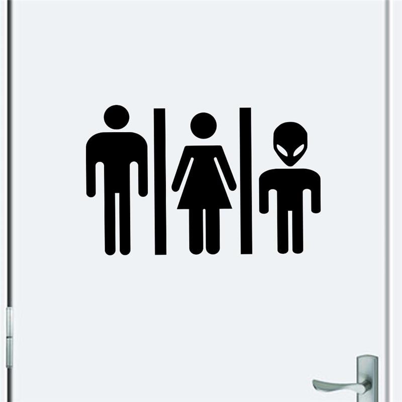 Funny Alien Sign Toilet Sticker Decals Diy Door Sticker