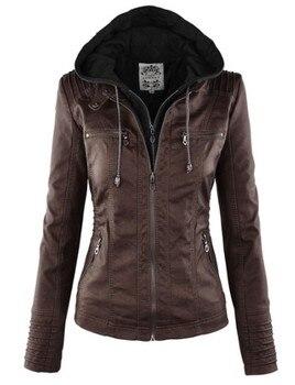 Faux Leather Jacket Women 2019 Basic Jacket Coat Female Winter Motorcycle Jacket Faux Leather PU Plus Size Hoodies Outerwear 10