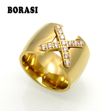 New Arrival Gold Color Ring Bijoux 14mm Width Big Pave Setting CZ Cross X Ring For