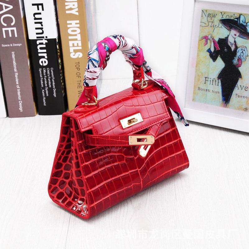 JONON Women Crocodile Padlock Bag Genuine Leather Bags For Women Famous Brand Designer Handbags High Quality