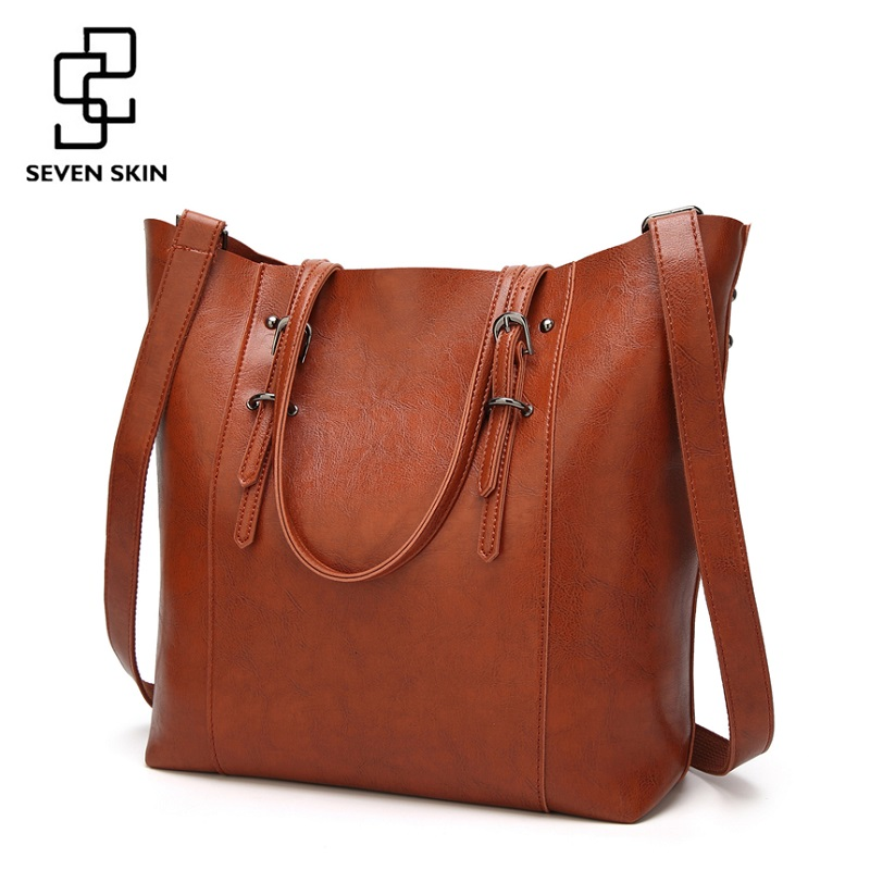 SEVEN SKIN Brand Women's Shoulder Bags Solid Leather Bag Female Luxury Handbags Women Bags Designer Large Casual Tote Bag 2018 seven skin brand women oil wax leather shoulder bags vintage designer handbags female big tote bag women s messenger bags 2017