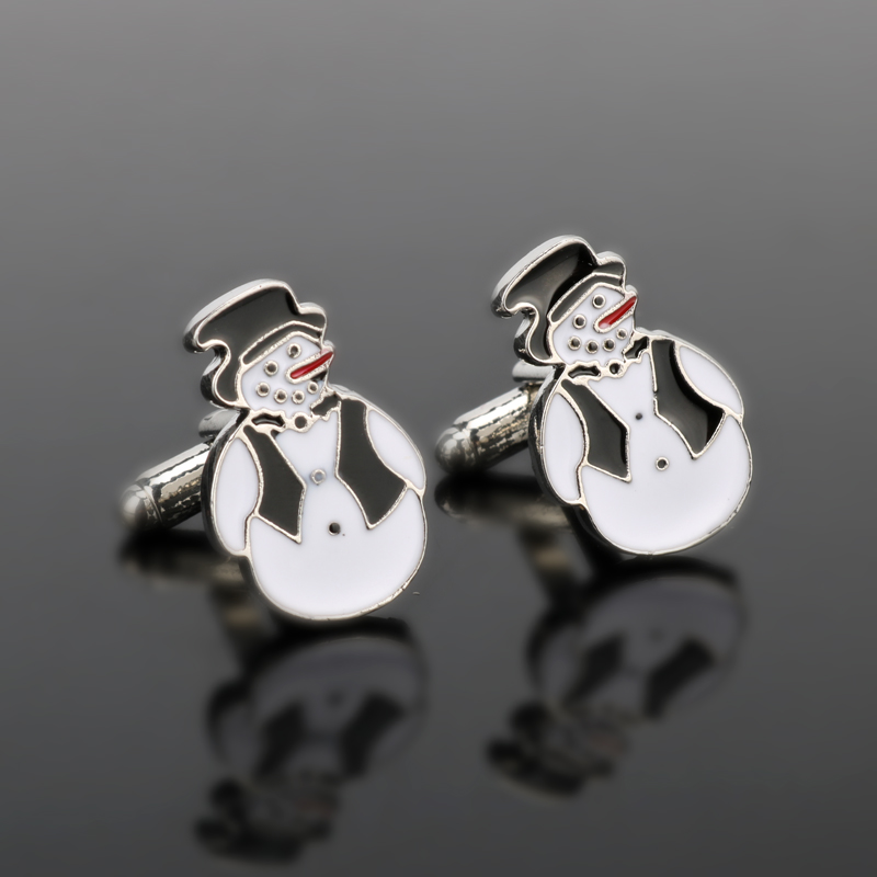 HANCHANG New Arrival Jewelry Fashion Cuff Links Novelty Snowman Best Christmas Gift Cuff Button For Men Party Wedding Gift