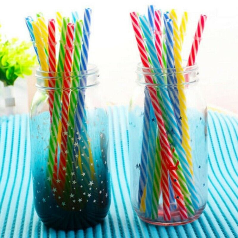 20Pcs Reusable Colorful Hard Plastic Stripe Drinking Straw Clean Wedding Sale