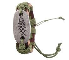 Nova moda handmade charme símbolo de espinha de peixe genuíno da correia de couro wrap Braceletsjewelry mulheres homens do vintage