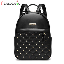 FGJLLOGJGSO Women Backpack Hot Fashion Causal bags High Quality bead female shoulder bag PU Leather Backpacks for Girls mochila