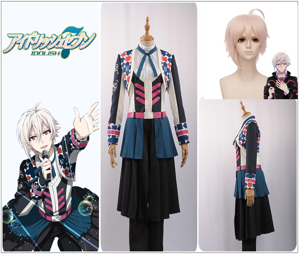 Games Idolish7 Trigger Group Wishes Kujo Tenn Cosplay Costume Custom Plaid Jacket Ruffles Skirt Uniform Pants Pink Curly Wig Home
