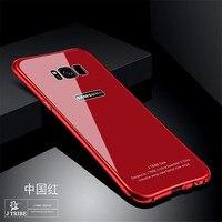 新しいケースラグジュアリーグリッターハードアルミニウム金属バンパー+強化ガラス鎧保護バック電話ケースカバー三星s8 s8プラ