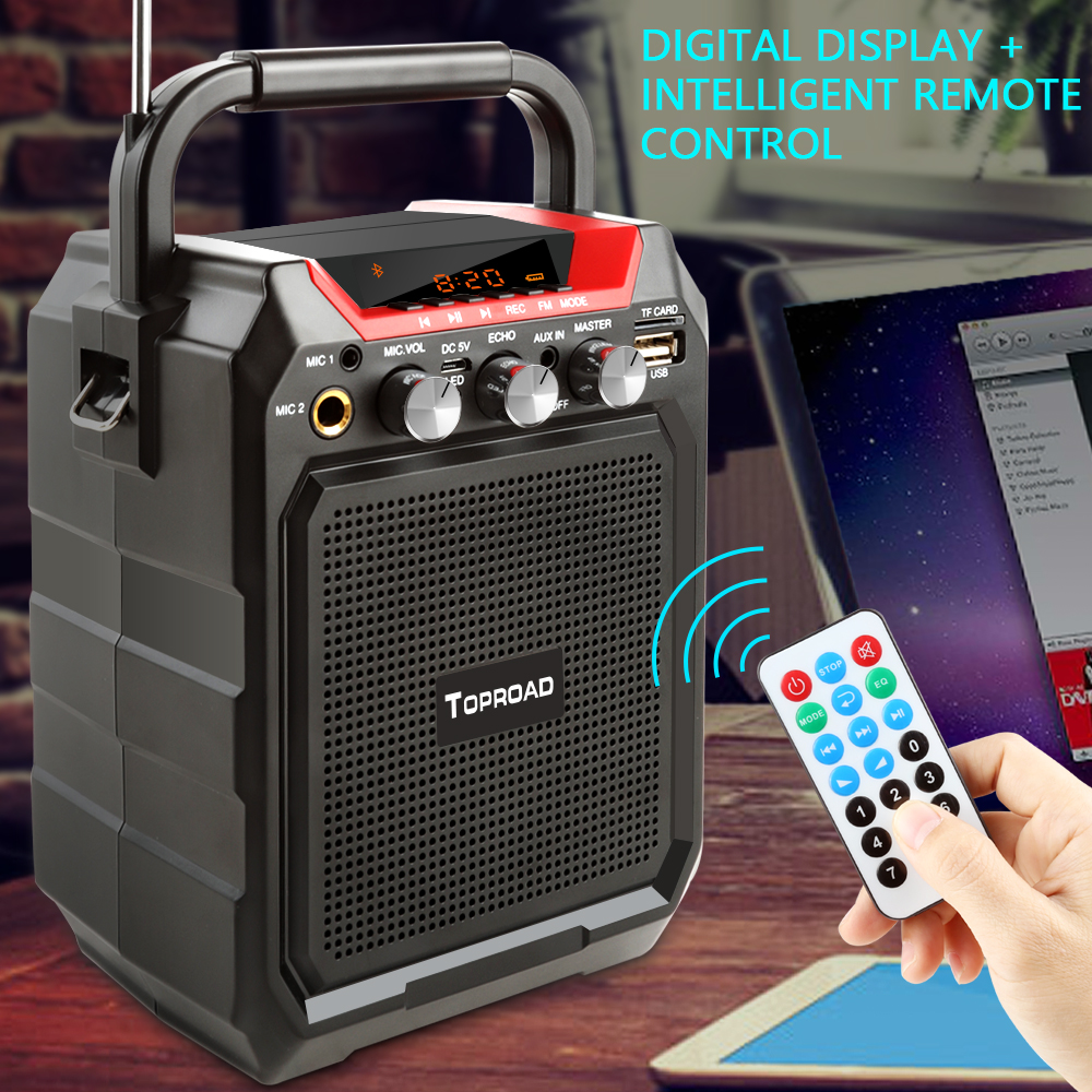 TOPROAD Portable Wireless Bluetooth Speaker With 3D Sound System Microphone And Remote Control 7