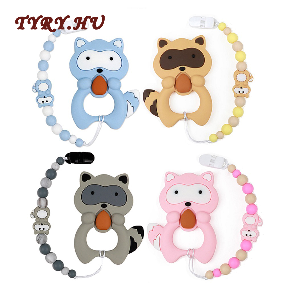 TYRY.HU 1pc Silicone Teether Beads Cartoon Pacifier Chain Baby Teething Nursing Pacifier Clips Raccoon Silicone Teether Necklace