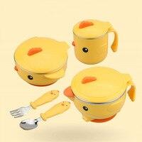 5pcs/set Babies Dinnerware Thermal Insulation Baby Feeding Tableware Food Warm Dish Bowl Set Anti Slip Kids Plate Set Sucker
