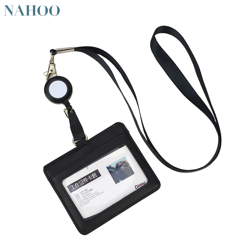 Nahoo Neck Lanyard Leather ID Badge Holder Accessories Vertical Credit Card Bus Cards Holder  Case Stationery Office Supplies