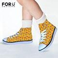 FORUDESIGNS Amarillo Emoción Divertidos Lona Caminar Zapatos para Niños y Niñas Sonríen Impresión Corredor de Alta Top de Encaje Hasta Zapatillas de Deporte Al Aire Libre
