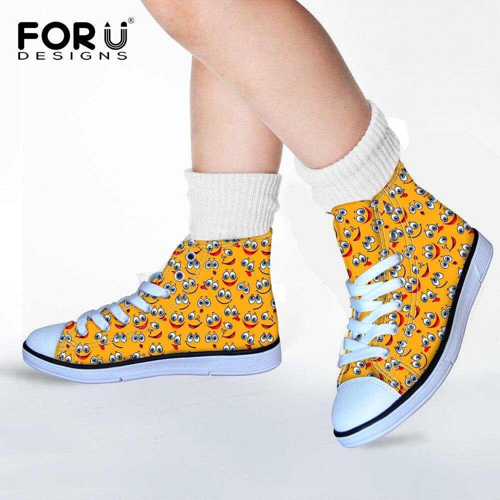 Nachdenklich Forudesigns Gelb Lustige Emotion Leinwand Wanderschuhe Für Jungen Und Mädchen Lächeln Druck High Top Lace Up Sneakers Außen Runner Kunden Zuerst